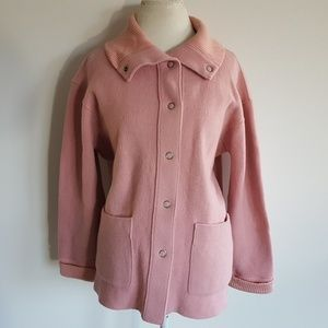 Jones NY Signature Pink Wool Blend Coat Jacket XL